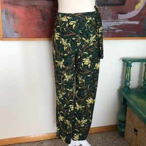 New Zara Tropical Print Tie Loose Ankle Trousers